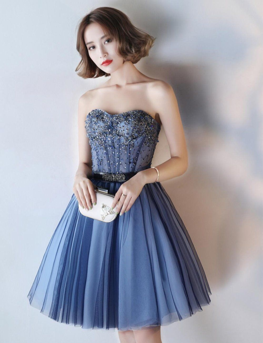 7aa07e6369d Navy Blue See Through Homecoming Prom Dresses