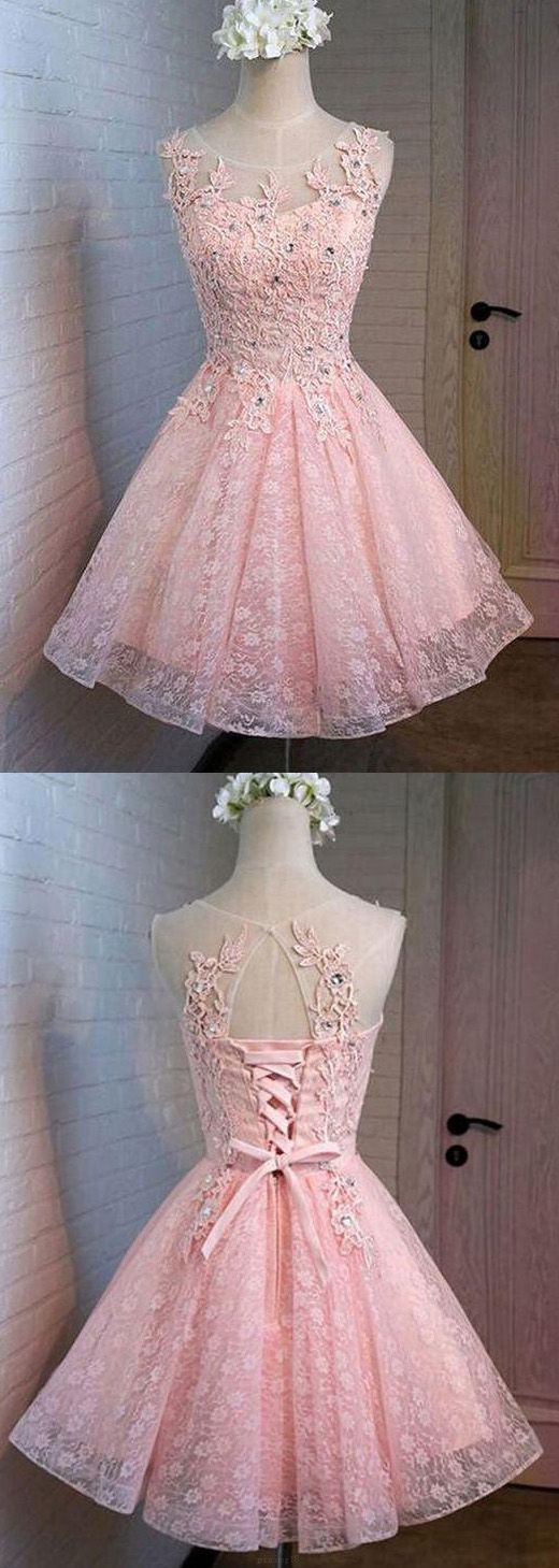 Pink A-line/Princess Party Prom Dresses Trendy Short Round ...