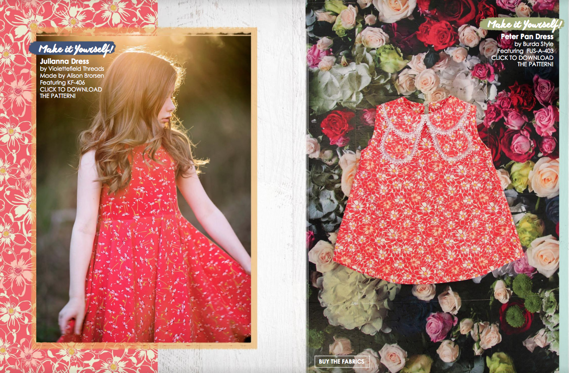 Fusions Lookbook by Art Gallery Fabrics. Dress made by Because of Brenna; Julianna PDF by Violette Field Threads #artgalleryfabrics #becauseofbrenna