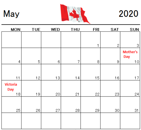 May 2020 Calendar With Holidays Canada In 2020 Holiday Calendar Peace Officer Memorial Day Loyalty Day