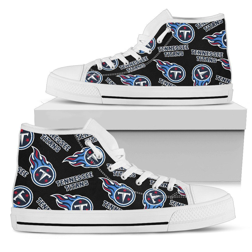 reputable site 5f8b7 f5e8c Script Logo Pattern Tennessee Titans High Top Shoes ...