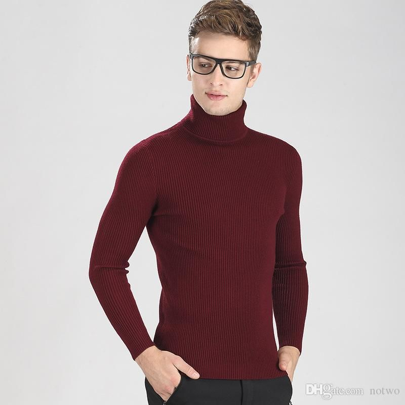 Brand Turtle Neck Men Sweaters Fashion Pullover Long Sleeve Skinny ...