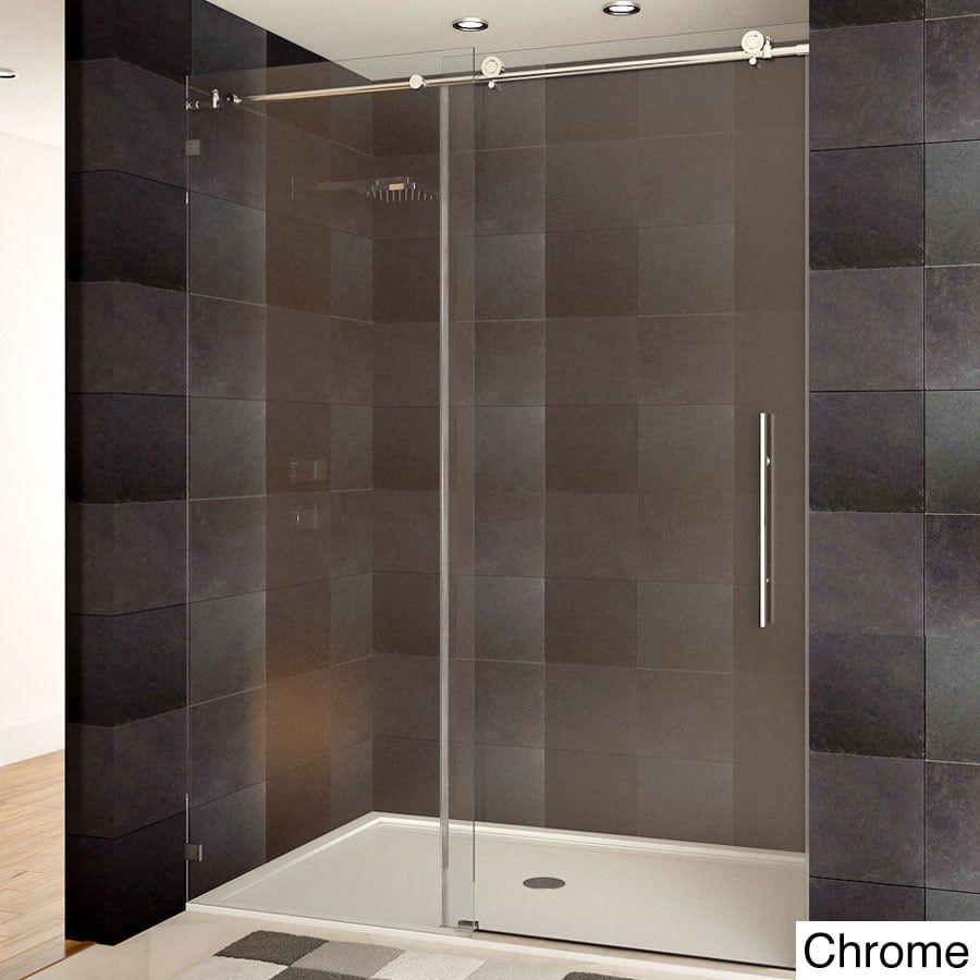 Lesscare Tempered Glass Frameless Shower Door Chrome Grey