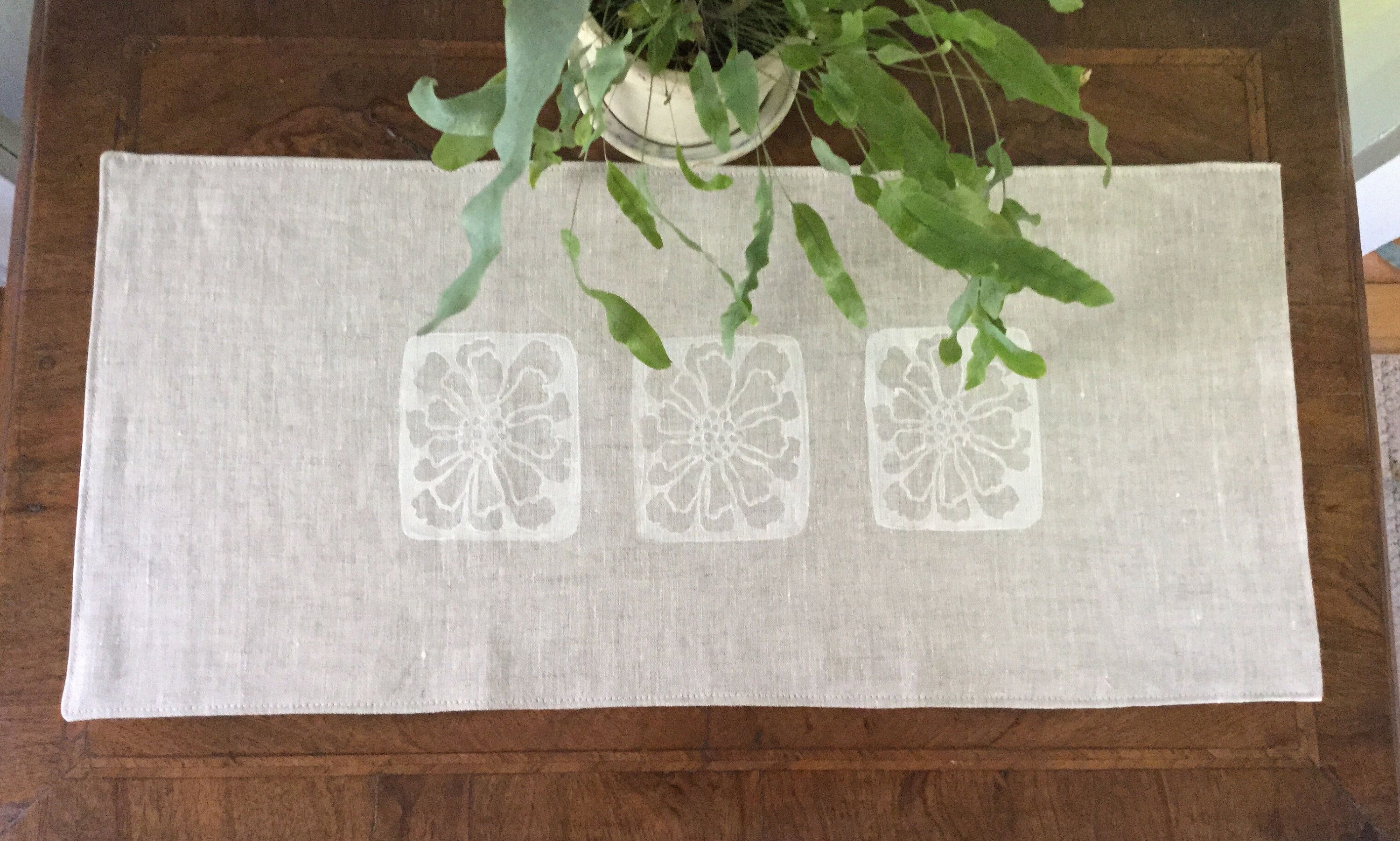 Block Printed Linen Table Runner Oatmeal Colored Cloth With Handprinted White Design For Or Dresser Unique Gift Idea By Calendulahandmade On