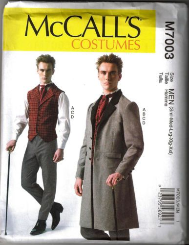 Details about McCALLS M7003 Mens Victorian/Steampunk/Sherlock Holmes Costume Sewing Pattern