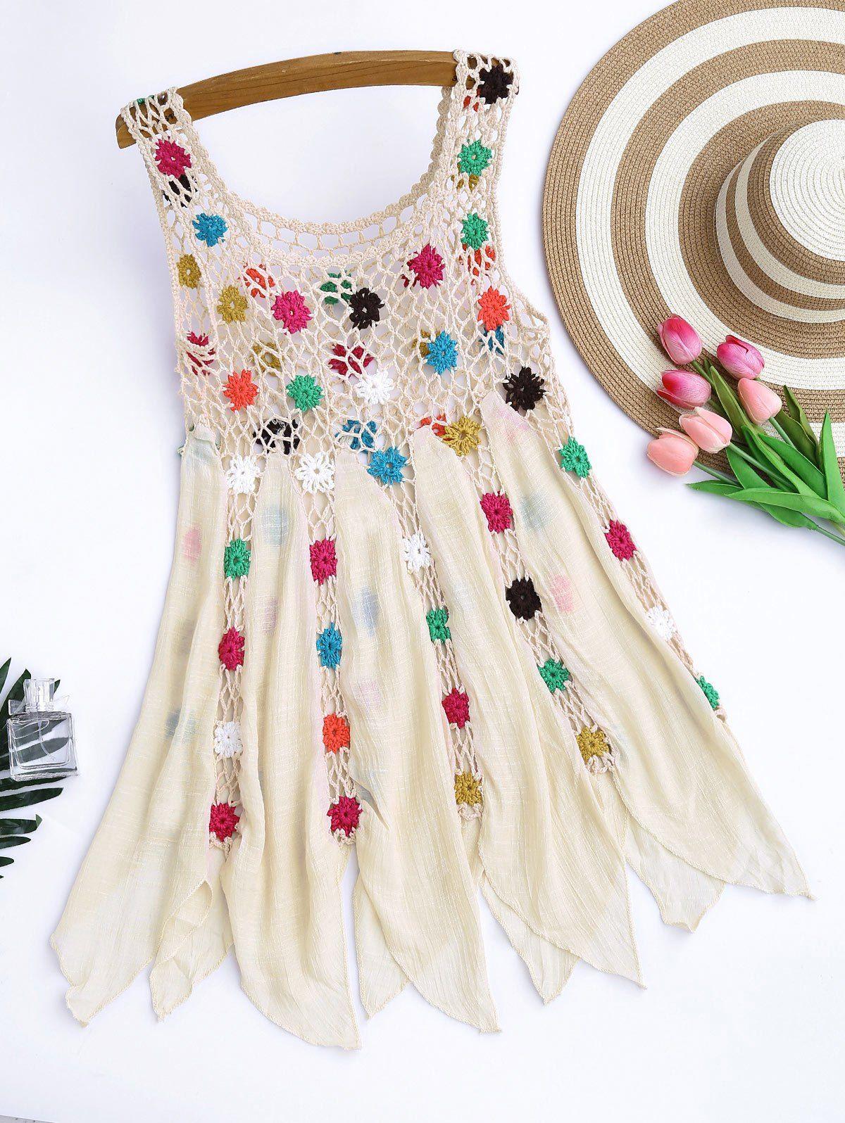 Crochet Floral Cover Up Tunic Top | Pinterest | Blusa bordada ...