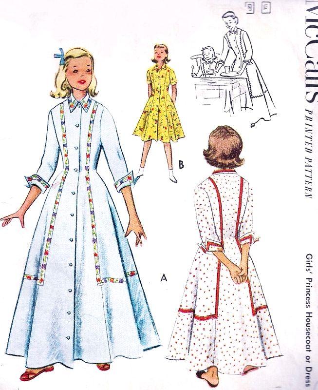 8673a4c0b6 1950s LOVELY Little Girls Princess Housecoat Robe or Dress Pattern McCALLS  8749 Charming Bathrobe Brunch Coat 2 Lengths Childrens Size 4 Vintage Sewing  ...