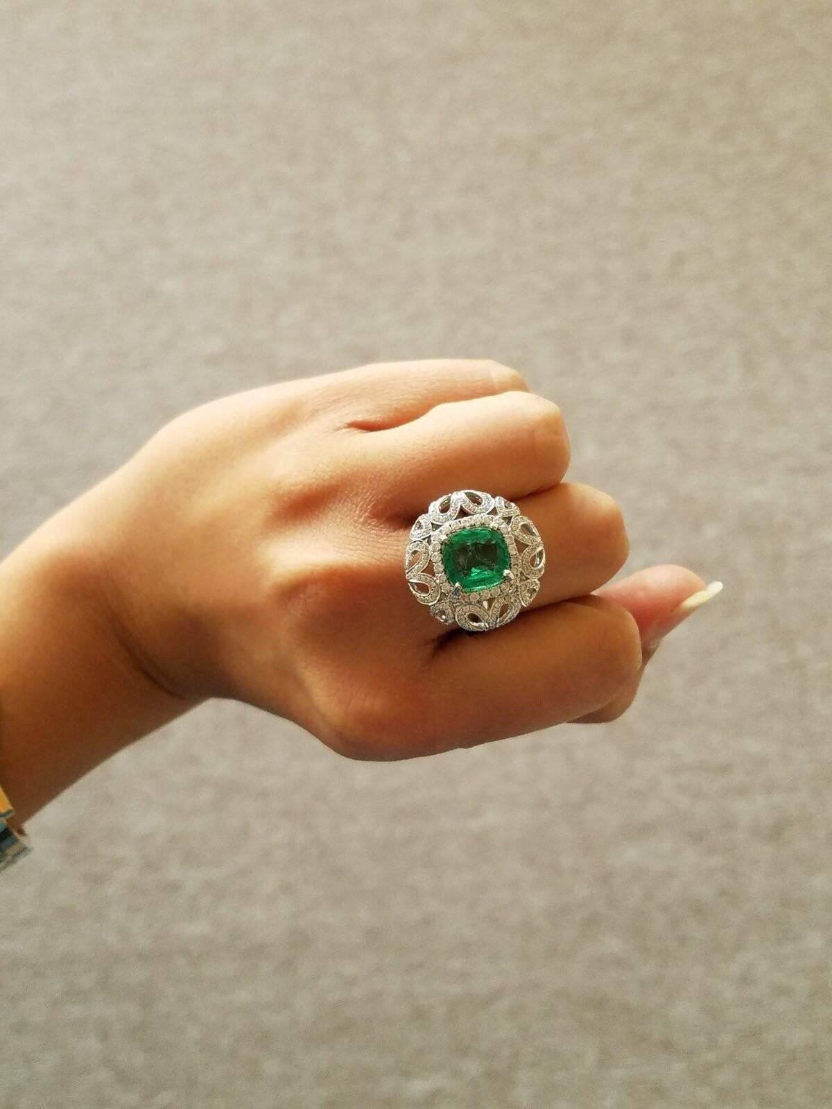290568f7dd5c6 Cushion Cut Zambian Emerald And Diamond Cocktail Ring in 2019 ...