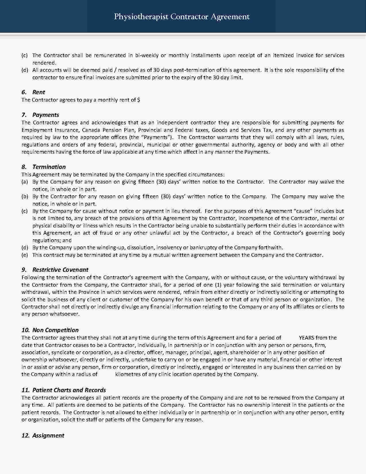 Templates Independent Contractor Agreement Templates Hunter Independent Contractor Contractors Agreement