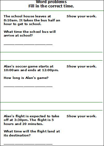 Time Worksheets Time Worksheets For 2nd Grade 2nd Grade Math Worksheets Time Word Problems Word Problems