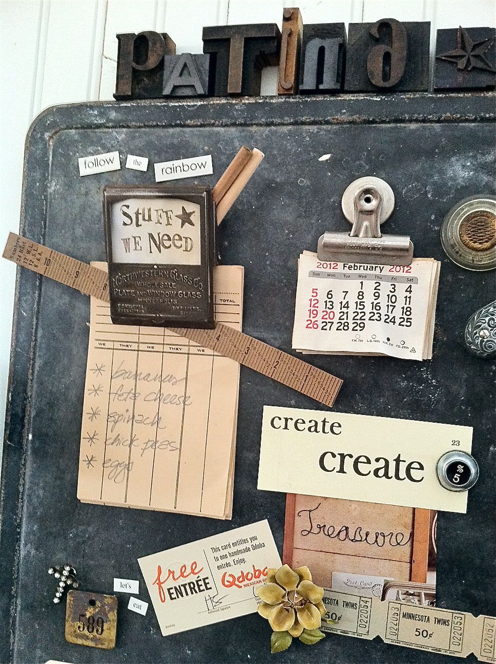 memo board for side of cabinets by Patina White