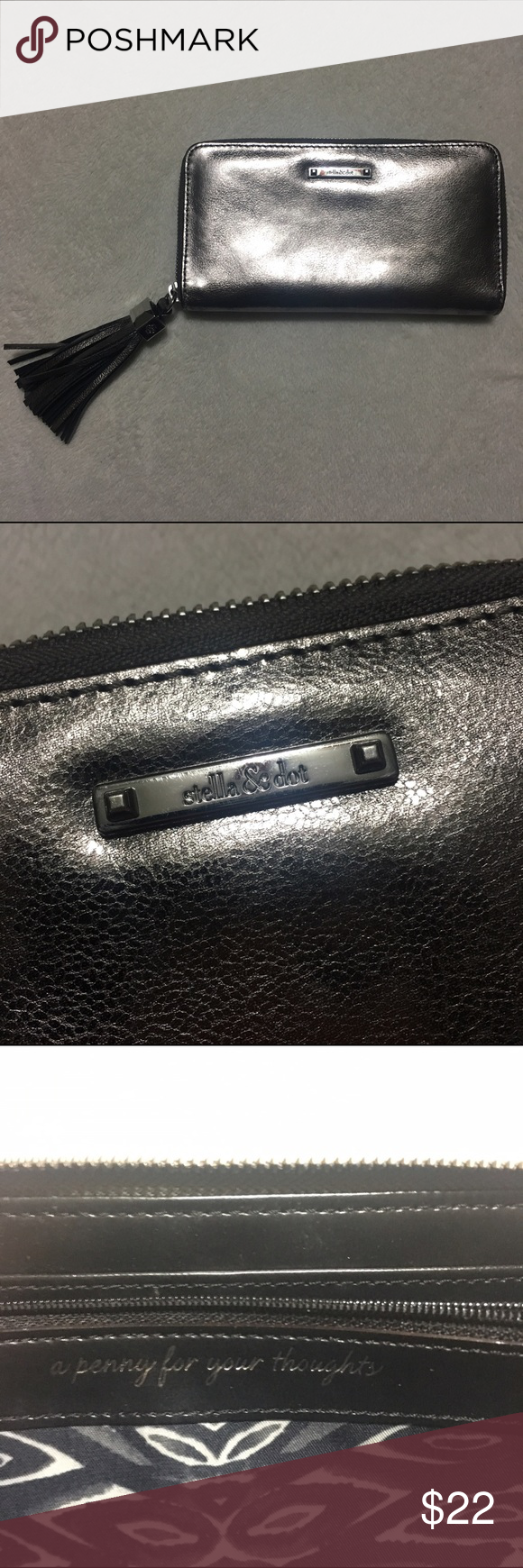 Stella & dot wallet Silver gun metal color! Great condition! Multiple slots for cards and a zipper pouch for coins! Also, check out the other Stella and dot items o have in my closet! :) Stella & Dot Bags Wallets