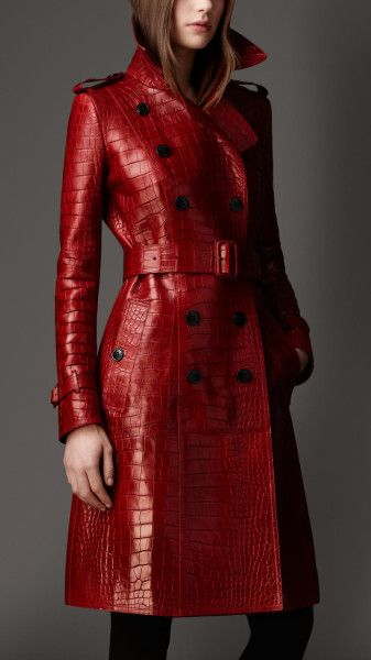 85449a41dea Burberry Long Alligator Leather Trench Coat in Red (lacquer red) - Lyst