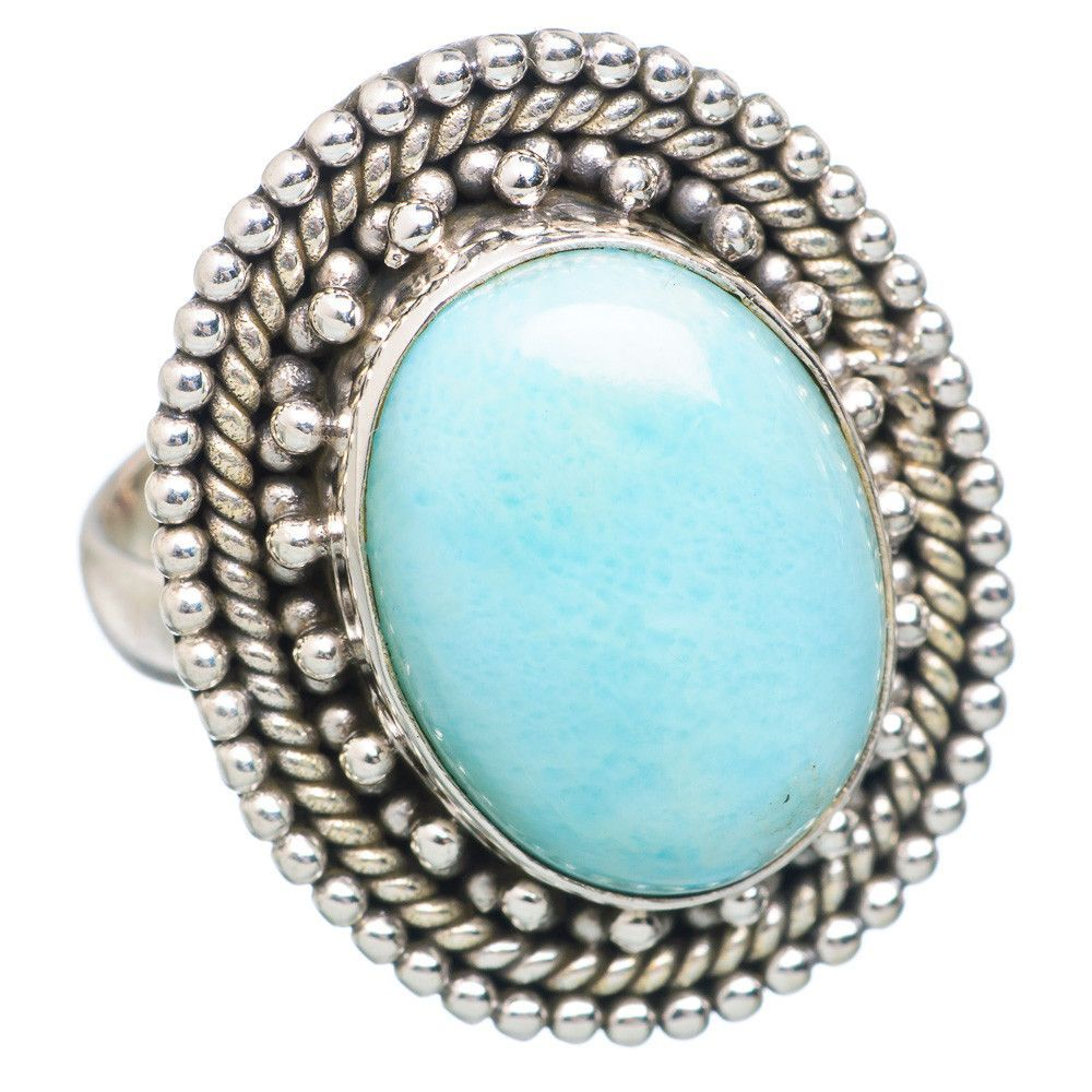 Rare Larimar 925 Sterling Silver Ring Size 7.75 RING717195