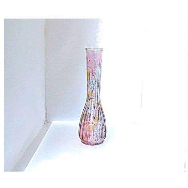 Vintage Small Long Neck Glass Vase Blue And Purple Tall Bud Vase