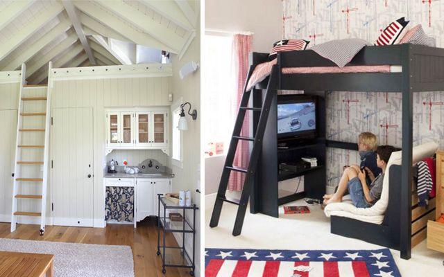 Camas en alto para espacios peque os casa pinterest - Camas para ninos pequenos ...