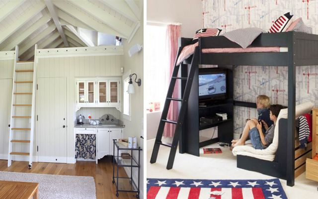 Camas en alto para espacios peque os casa pinterest - Habitaciones para ninos pequenos ...