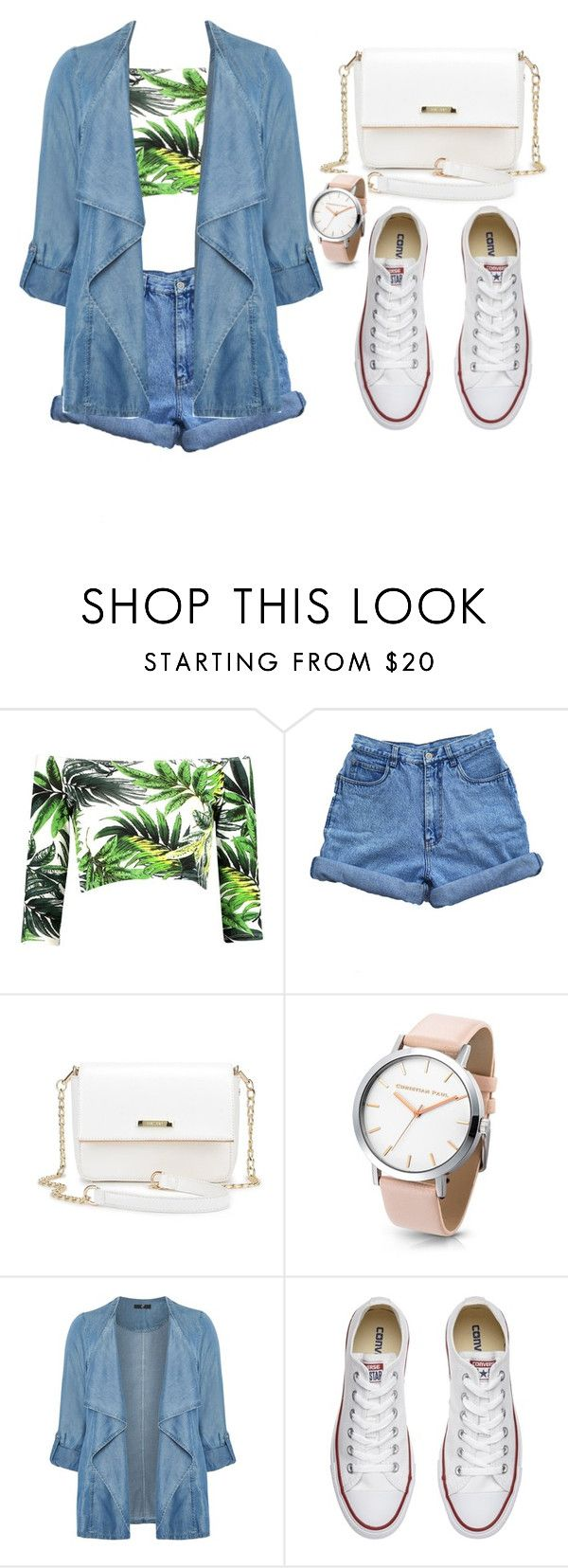 """Rio 2016"" by marianafvas ❤ liked on Polyvore featuring Boohoo, Bill Blass, Evans and Converse"