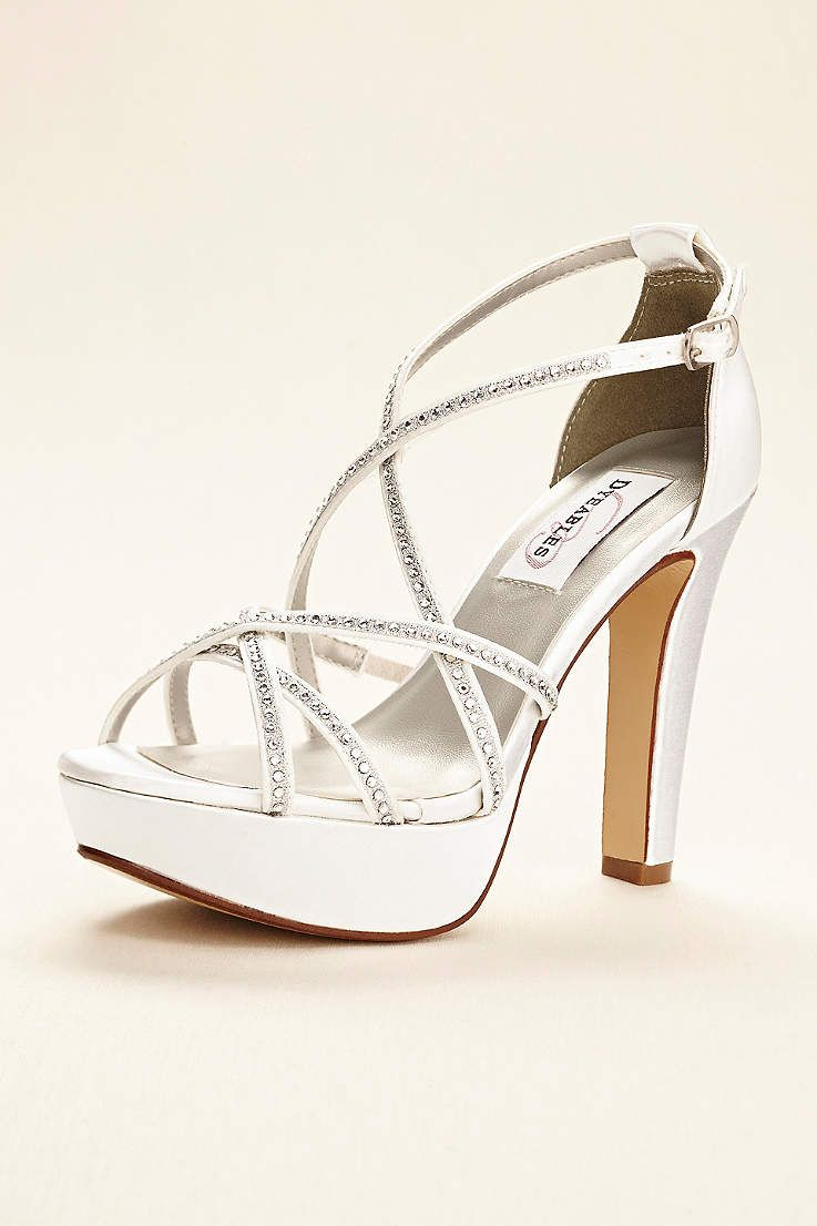3d6a60949e8 Dyeables White Sandals (Dyeable Strappy Platform Sandal with Crystals)
