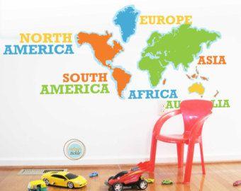 World Map Sticker Adventure World Nursery Decor Baby Room