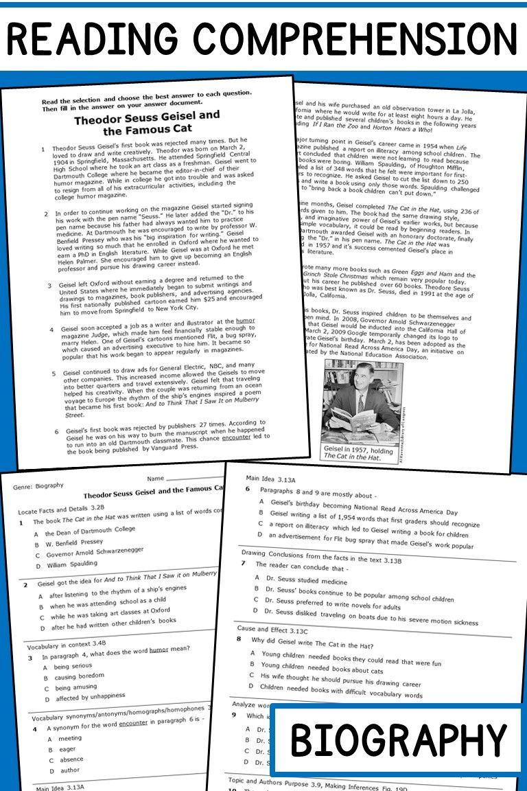 hight resolution of Reading Comprehension Passage and Questions Biography   Reading  comprehension