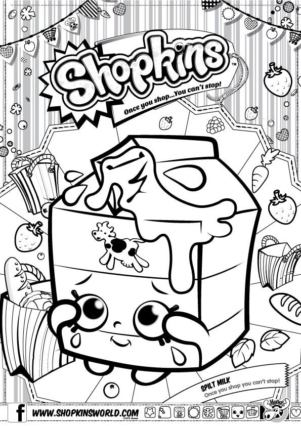 Shopkins Coloring Pages Season 1 Spilt Milk