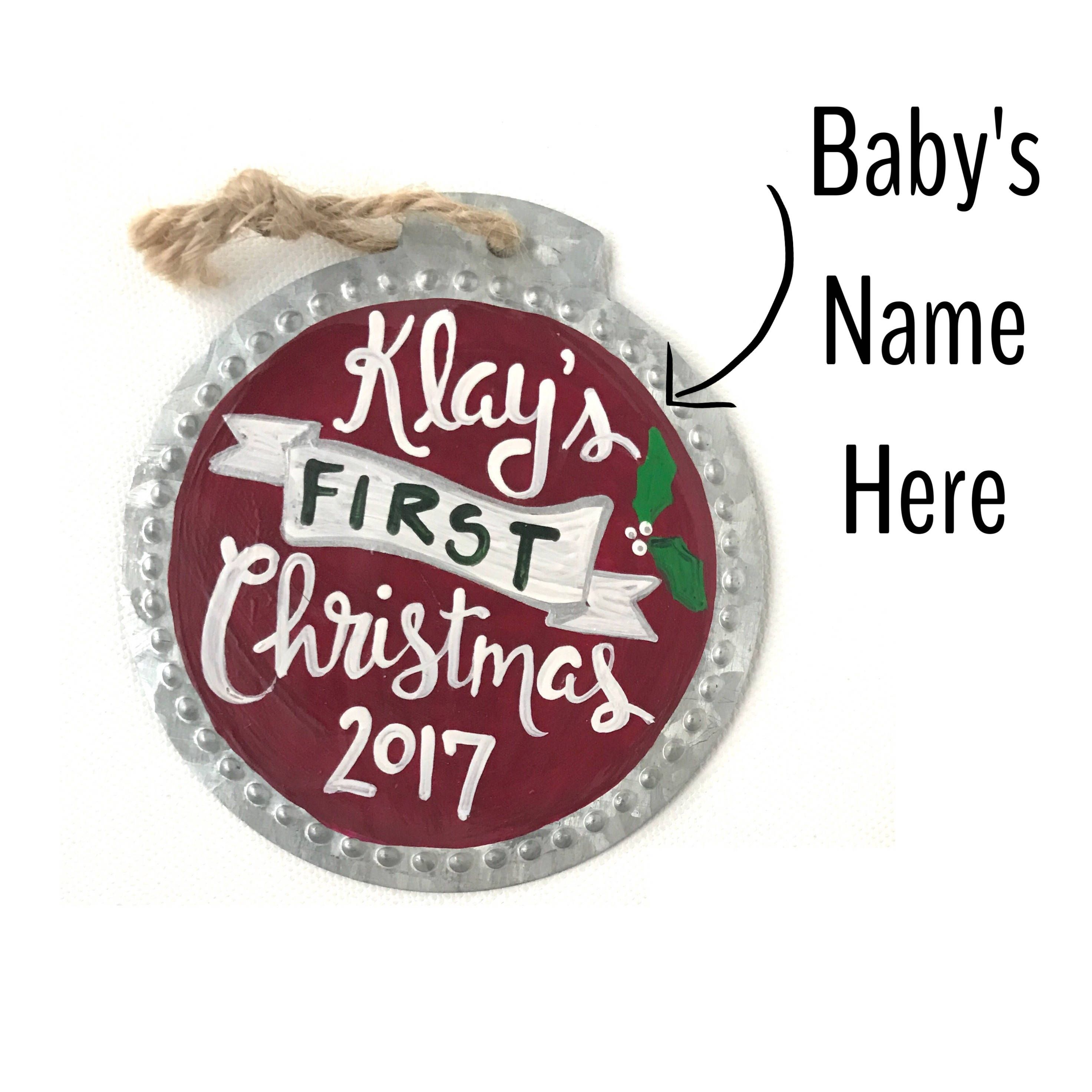 Babys First Christmas Ornament Baby Ornament Custom First Christmas Ornament