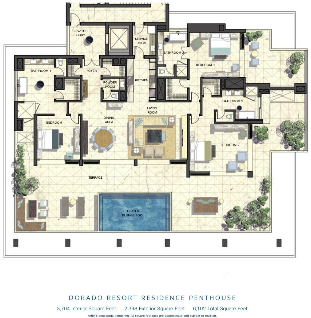 luxury penthouse floor plans penthouse floor plans beachfront residences penthouses - Luxury Penthouse Floor Plans