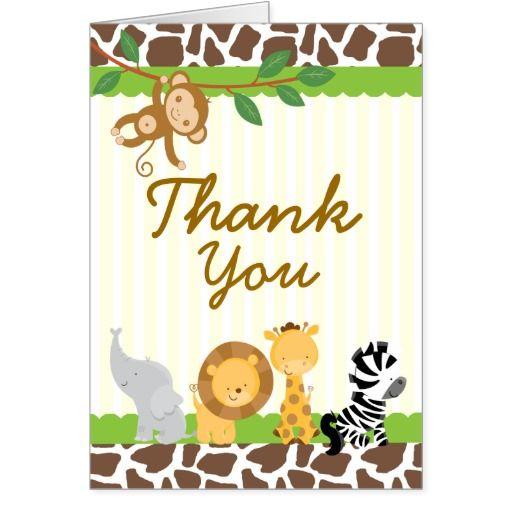 Safari Jungle Thank You Card Birthday Baby Shower Safari Baby