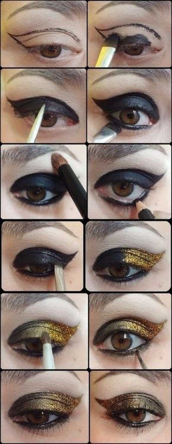 Smokey glitter eye makeup heres other glitter eye makeup so this is how you get eyes loke these black and gold eye make up tutorial baditri Images