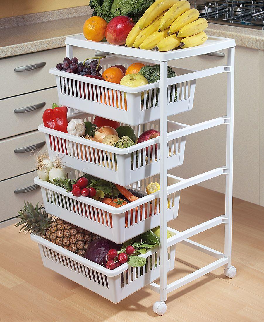 Verdulero con 4 cestas f cil montaje y desplazamiento for Recoger muebles