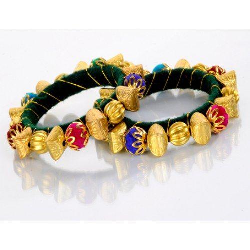 b26d51934e6 Designer Golden Moti Kada - Online Shopping for Bracelets n Bangles by AVS  Jewellers