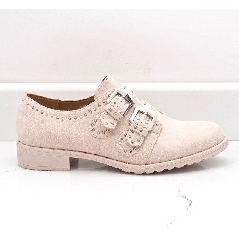 Bezowe Polbuty Z Cwiekami Es8500 Bezowy Shoes Beige Shoes Leather Ballet Shoes