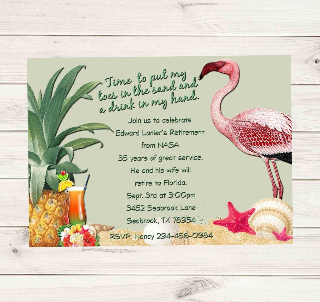 Beach Tropical Retirement Invitation with Flamingos and ...