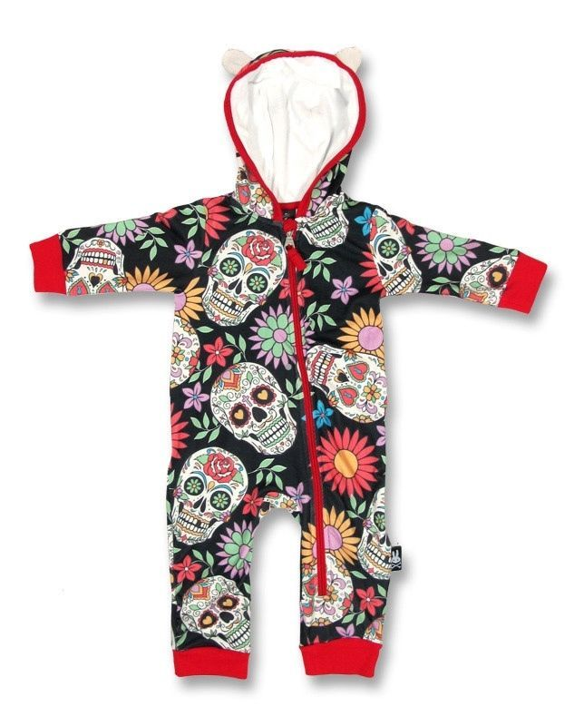 Six Bunnies Sugar Skull Playsuit Onesie Baby Rockabilly Punk Cool Hood Tattoo