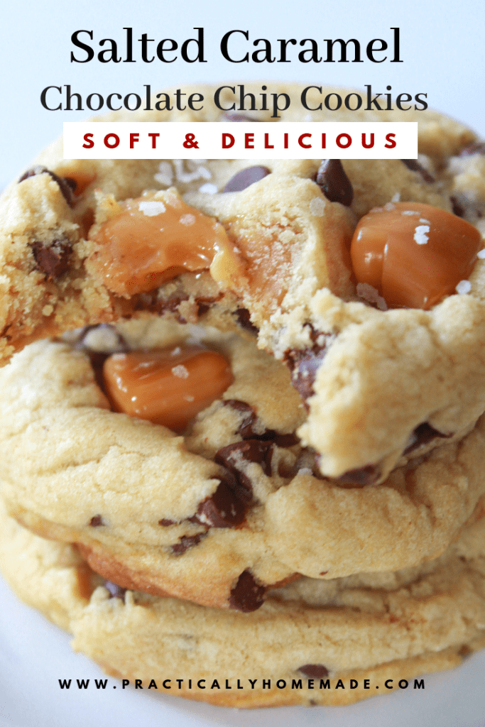 Salted Caramel Chocolate Chip Cookies #chocolatechipcookies
