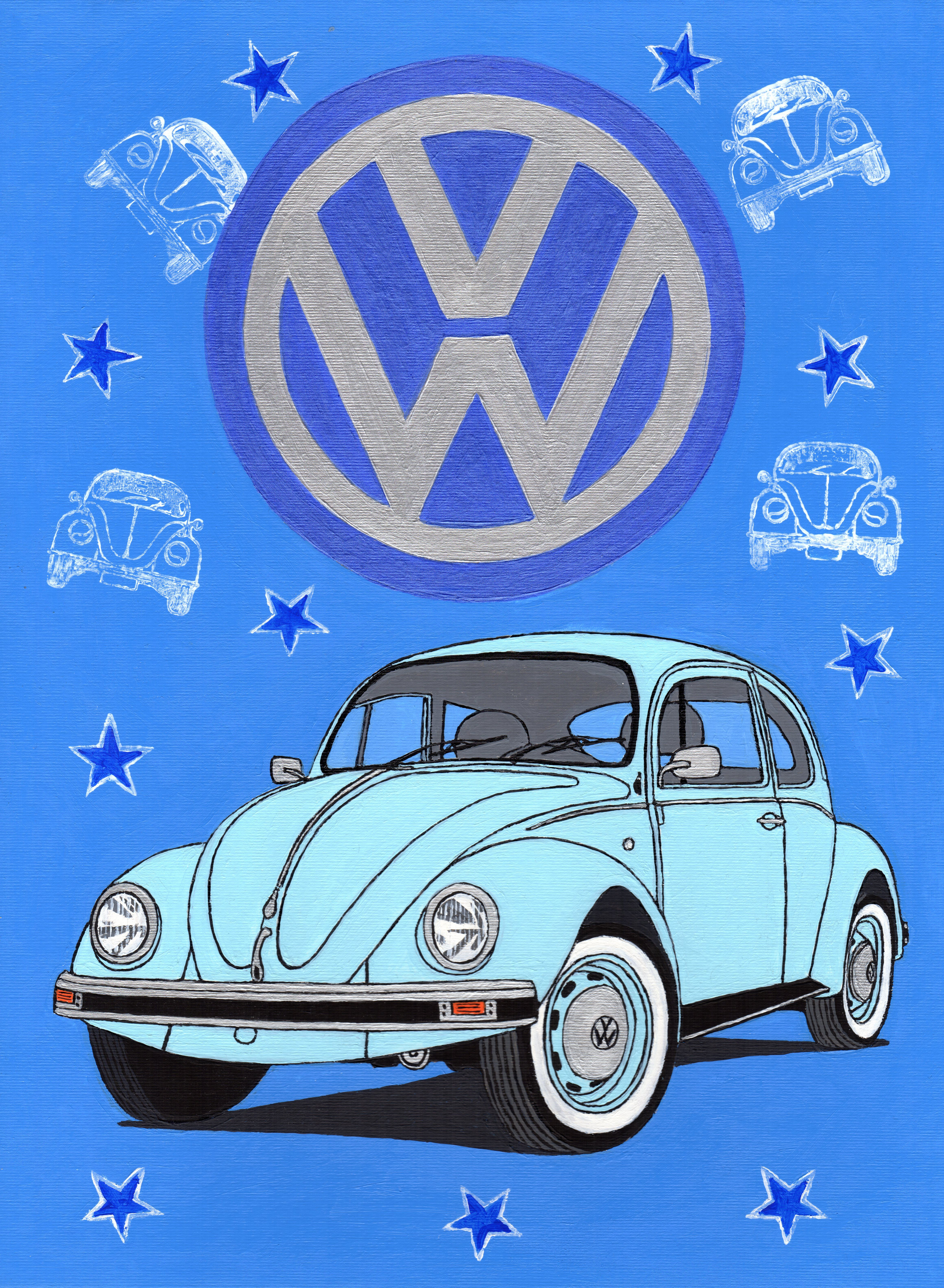 vw beetle  acrylic  canvas board  car bike art vw beetles beetle  small cars