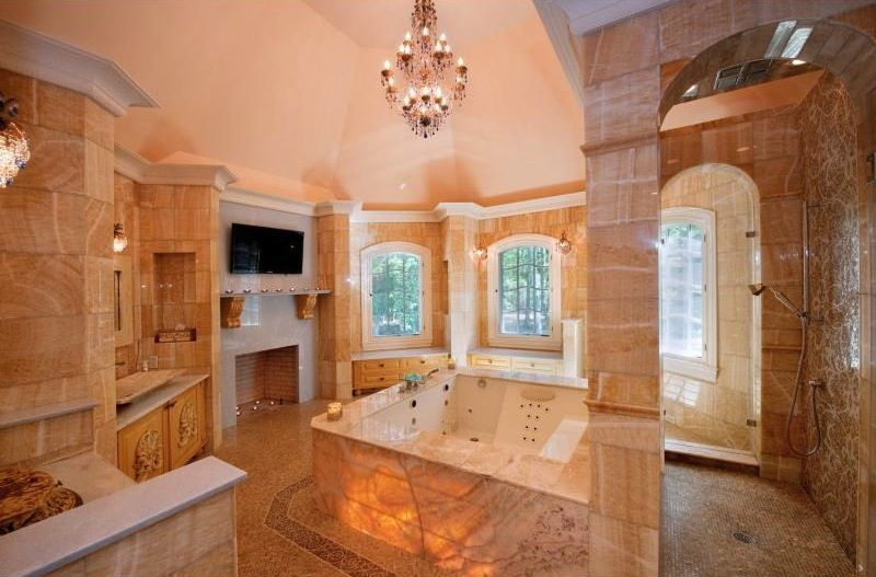 Bathroom Sets Luxury Reconditioned Bath Tub In Master Bedroom: I'd Prefer A Different Color Of Stone But Still...amazing