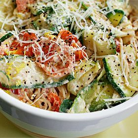Jillian Michael's Pasta with zucchini, tomatoes and creamy lemon-yogurt sauce- great for using garden foods.