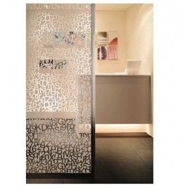 Patterned Decorative White Frosted Window Film Privacy Gl Thema Alphabet Number Pattern