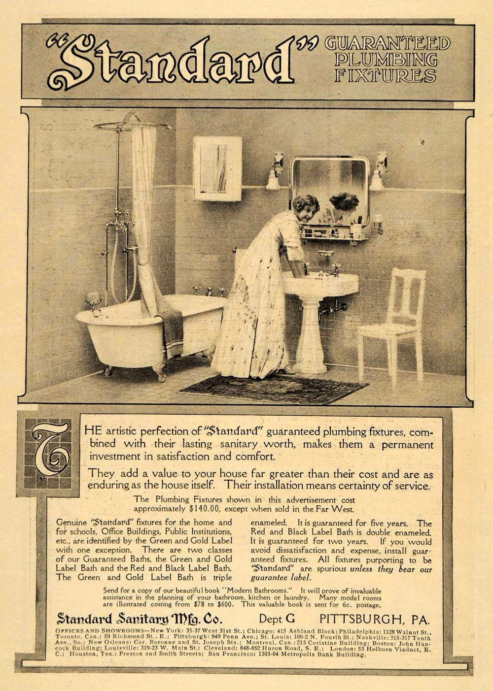 This is an original 1911 black and white print ad for ...