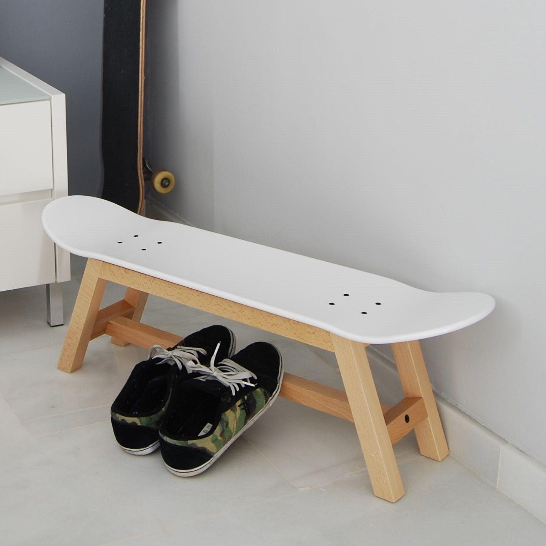 skateboard bank dekor geburtstag kinder skateboard hocker mit beine massivem buchenholz natrliche und skate lackiert weiss mae breite 82 cm tiefe 20 - Skateboard Regal Kinder Schlafzimmer