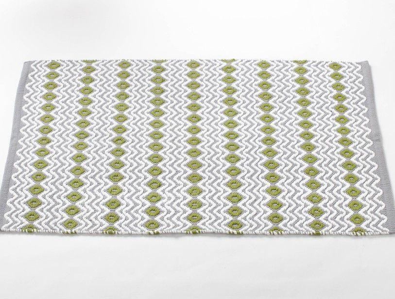 Gray Green Tea Wave Rug Green Kitchen Rug Cotton Bath Rug Coyuchi