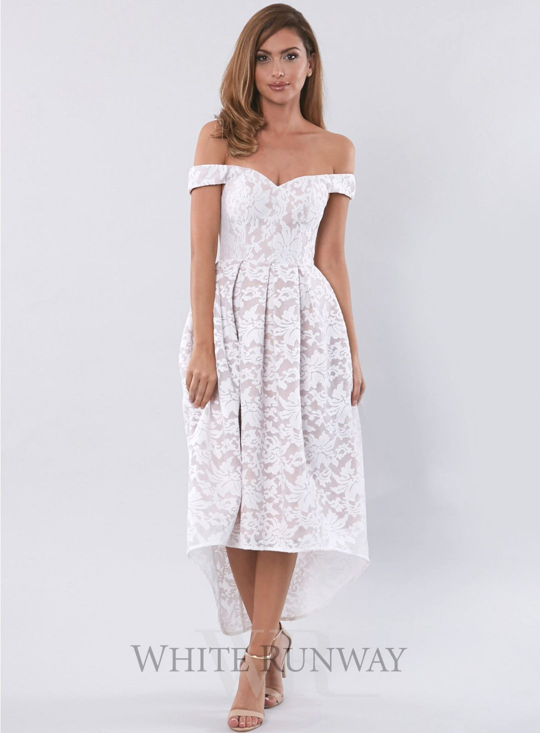 51885543a6f Mia Dress. A gorgeous midi length dress by Love Honor. A mesh floral embroidered  lace dress with a hi-lo pleated skirt and off shoulder detailing.