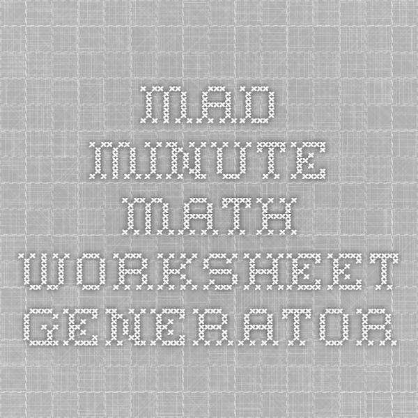 mad minute math worksheet generator summer enrichment pinterest math worksheets math and. Black Bedroom Furniture Sets. Home Design Ideas