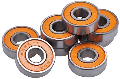 New Skateboard Bearings Pro Competition Quality for Precision and Speed - Pack of 8 - Abec 7 - http://shop.dailyskatetube.com/?post_type=product&p=2026 - Get These Great Having a look Bearing And Fortify Your Ride Repair Your Board And Return To Having Fun Whit Your Revived Board - Top of the range skateboard long board bearing 608 RS.Racing skate bearing Single orange rubber seal - Pro quality fast bearing. Chrome steel ring,steel ball,7 balls -