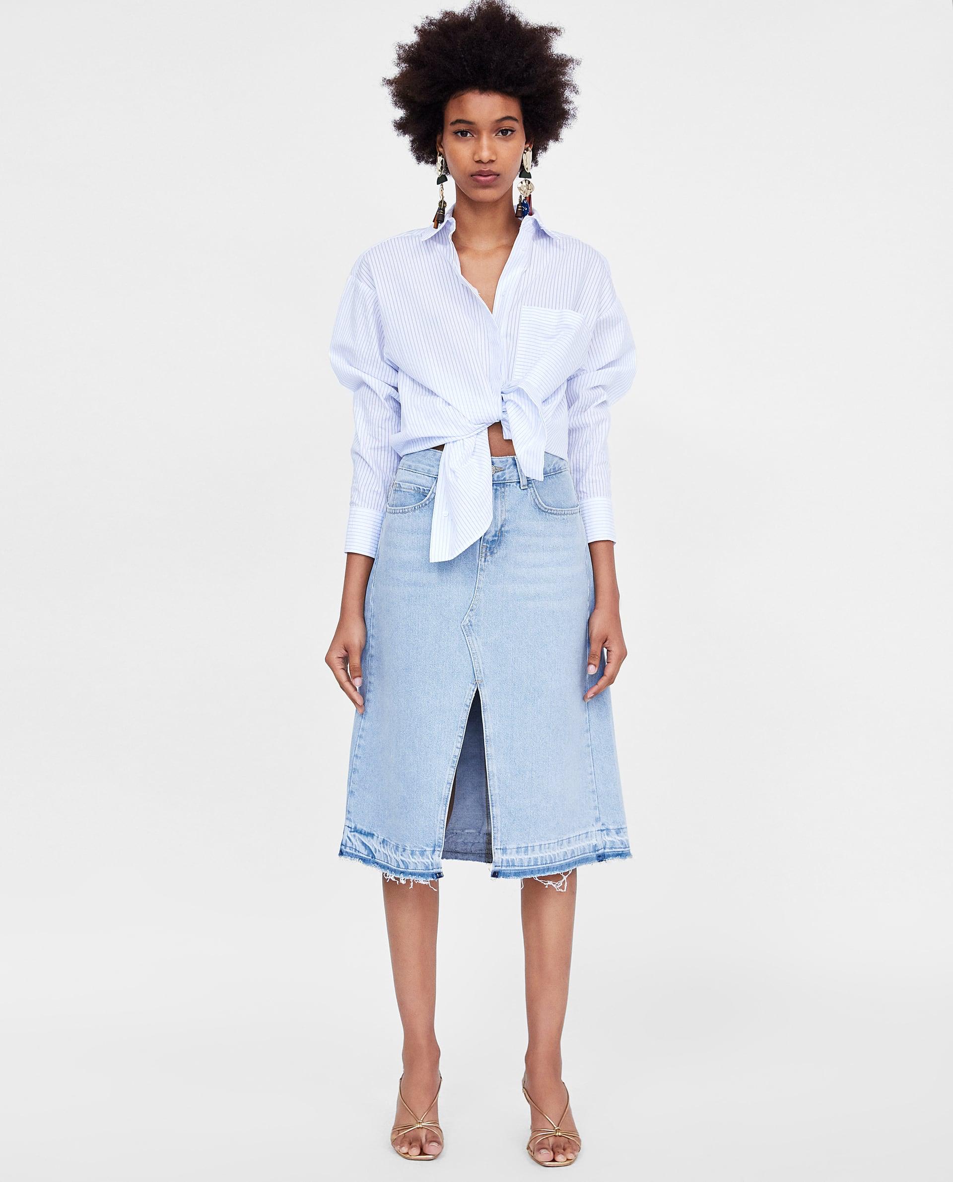 2b0a1df5be Zara Damen, Coats For Women, Denim Skirt, Valance, Jean Skirt, Women's