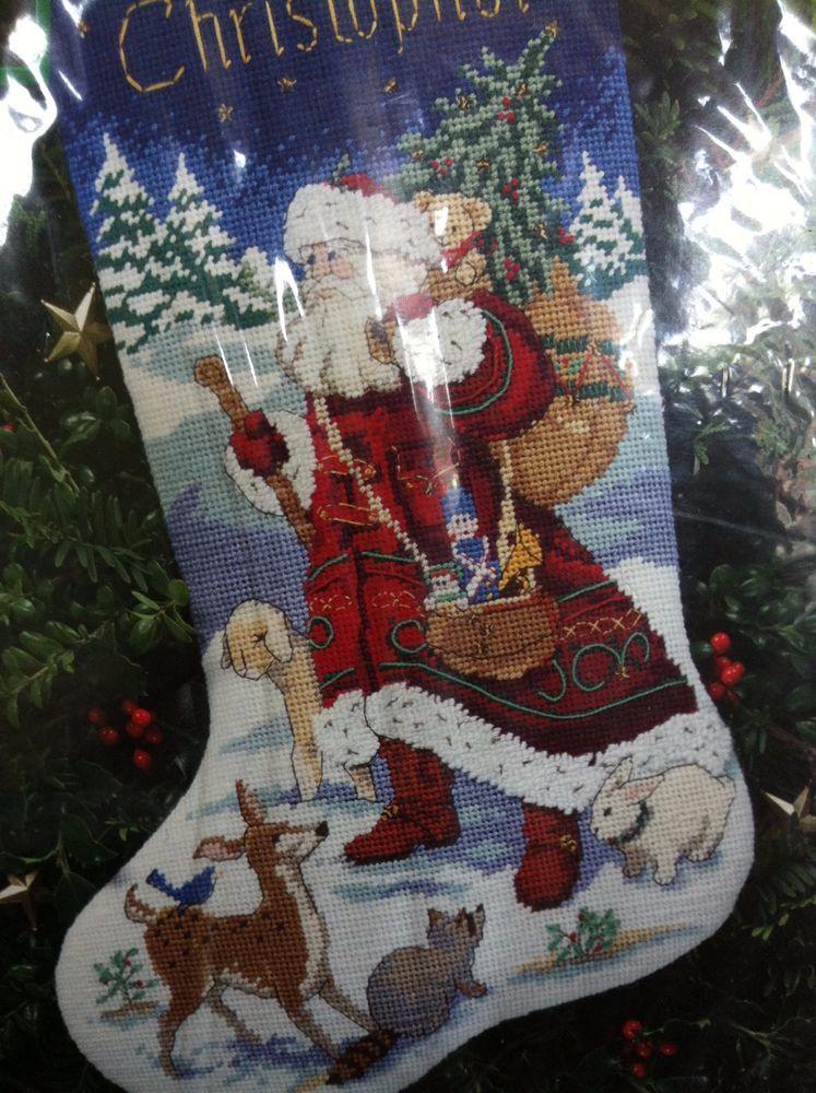 "Dimensions Christmas 16"" Needlepoint Stocking Kit Animal"