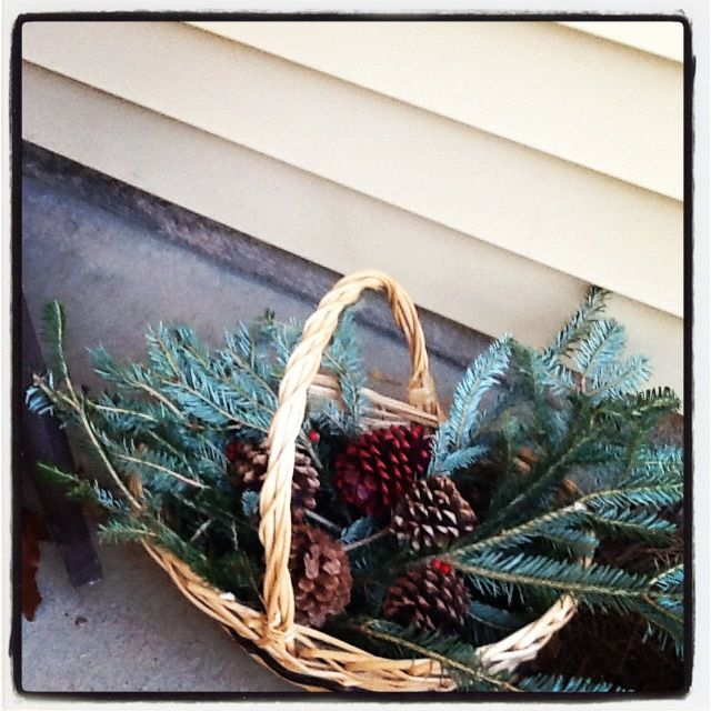 Basket From Goodwill, Free Christmas Branches From A