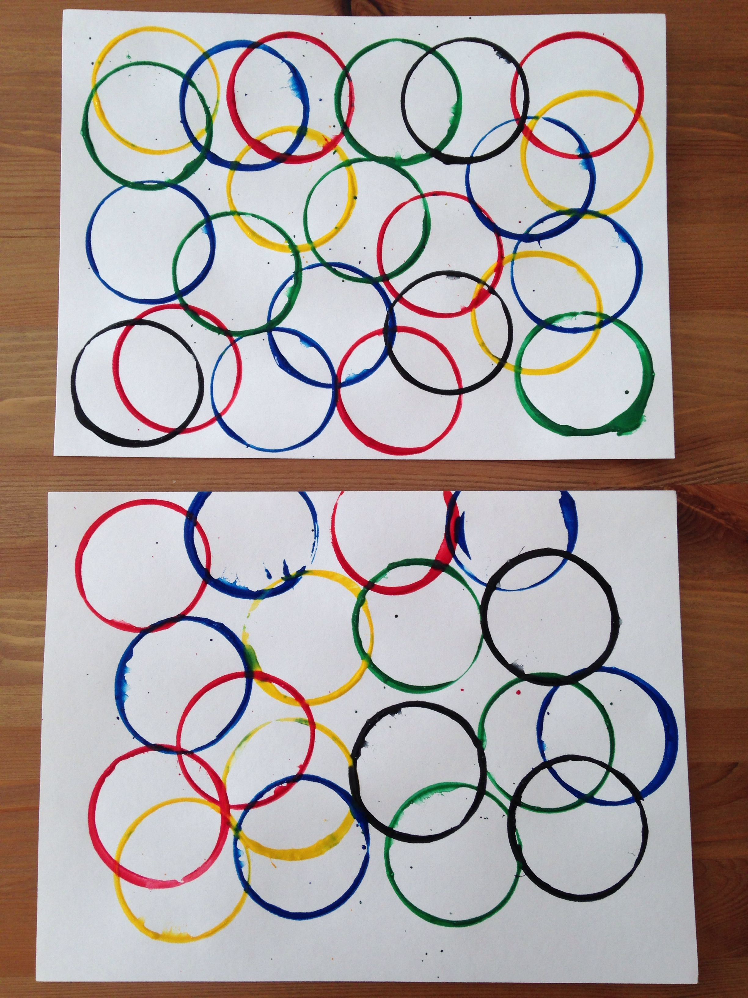 Olympic Rings Painting Using Dixie Cups Olympic Craft Preschool